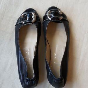 AGL Black Leather Peep Toe Flats
